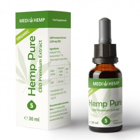 Huile CBD bio Medi Hemp 5% - 30ml